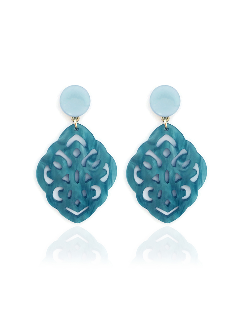 STATEMENT OORBELLEN MET RESIN ORNAMENT - TURQUOISE - N19SS047 - ZATTHU JEWELR
