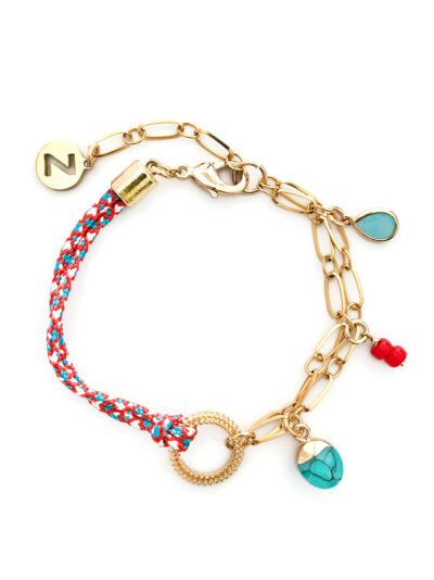 AFRA ARMBAND MET BEDELS - BLAUW ROOD - N20SS120 - ZATTHU JEWELRY